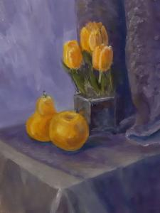 Галина Калмыкова, Натюрморт с желтыми тюльпанами, 40х30, холст, масло, 2020 г.