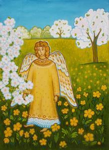 Лидия Разумова, Ангел в весеннем саду, 52х38, холст, масло, 2020 г.