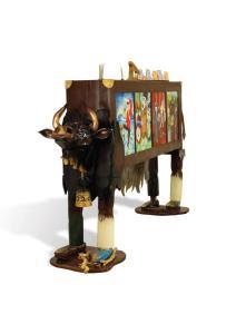 «Золотой теленок», резьба по дереву, 200х400, 2016 г.