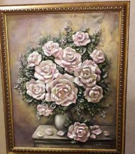 Анастасия Серблянская, Розовый букет, 50х60, смешанная техника, оргалит, 2019 г.