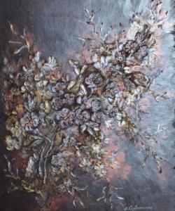Анастасия Серблянская, Яблоневый цвет, 50х60, смешанная техника, оргалит, 2017 г.
