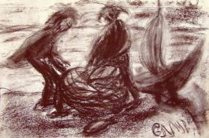 Рыбаки. б.уголь; 14х21; 2013
