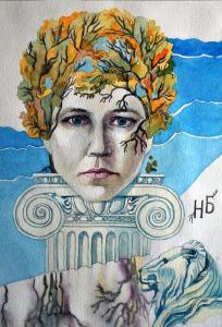 Базина Автопортрет, 40х30,бум,акв,1999