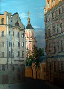Базина Вид на Меньшикову башню с Кривоколенного переулка, 70х50,х,м,2019