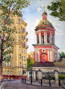 Базина Н Богословский пер.40х30,бум,акв,2017