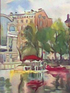 Базина Н Лодки на Чистых прудах, 30х20, бум,акв,1999