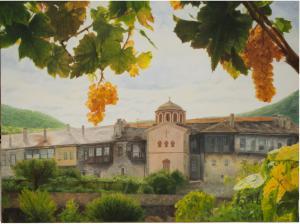 Святой Монастырь Филофей 2016 х.м. 70x90