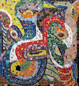 Мелодия | 58,8 х 54,5 | оргалит, рельефная мозаика | 2010