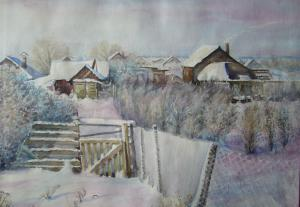 Зима в Рассвете - 2008 -  акв - бум - 28x38
