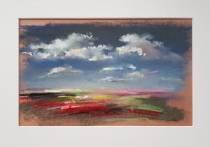 """""""А где-то маковые поля под облаками"""", бумага, пастель, уголь, 27х35см, 2018г."""