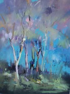 """"""" На опушке леса"""", бумага, пастель, уголь, размер с паспарту 40х30см, 2019г."""