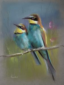 """Птички"", бумага, пастель, размер с паспарту 50х40см, лист 42×30, 2018г."