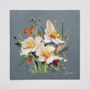 """""""Цветы бабочки"""", бумага, пастель, размер с паспарту 29х29см, лист 21×21, 2018г."""