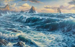 Утро на Штормовых островах. 2015. х.м. 93х145см. resize